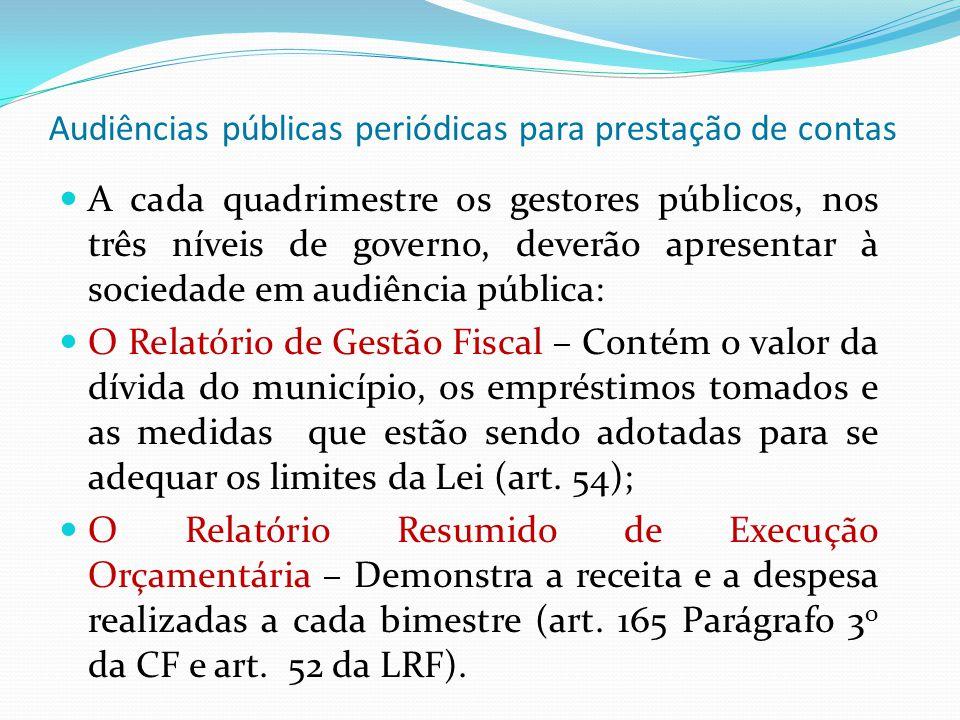 A cada quadrimestre os gestores públicos, nos três níveis de governo, deverão apresentar à sociedade em audiência pública: O Relatório de Gestão Fisca