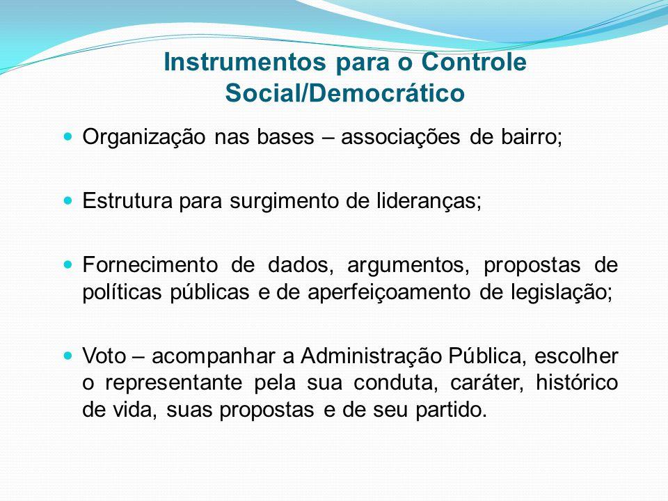 Instrumentos para o Controle Social/Democrático Organização nas bases – associações de bairro; Estrutura para surgimento de lideranças; Fornecimento d