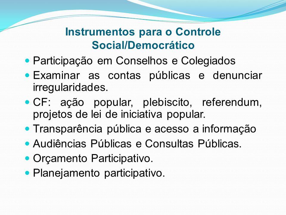 Instrumentos para o Controle Social/Democrático Participação em Conselhos e Colegiados Examinar as contas públicas e denunciar irregularidades. CF: aç
