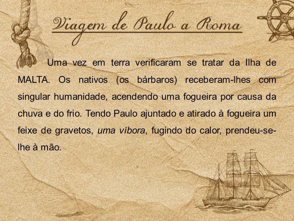 Uma vez em terra verificaram se tratar da Ilha de MALTA. Os nativos (os bárbaros) receberam-lhes com singular humanidade, acendendo uma fogueira por c