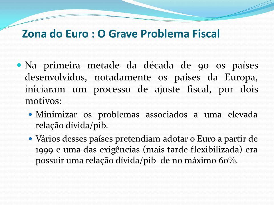 Zona do Euro : O Grave Problema Fiscal Na primeira metade da década de 90 os países desenvolvidos, notadamente os países da Europa, iniciaram um proce