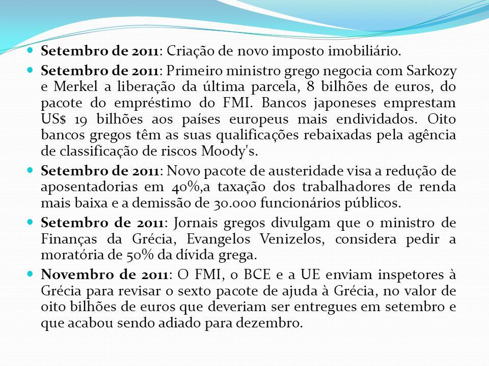 Setembro de 2011: Criação de novo imposto imobiliário. Setembro de 2011: Primeiro ministro grego negocia com Sarkozy e Merkel a liberação da última pa