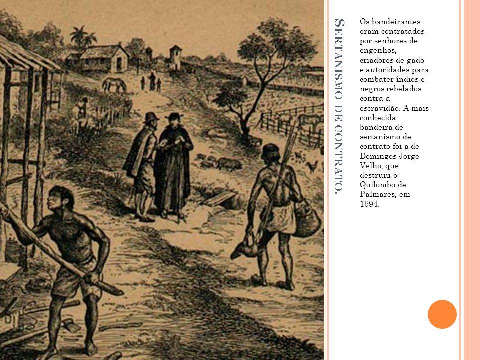 S ERTANISMO DE CONTRATO. Os bandeirantes eram contratados por senhores de engenhos, criadores de gado e autoridades para combater índios e negros rebe
