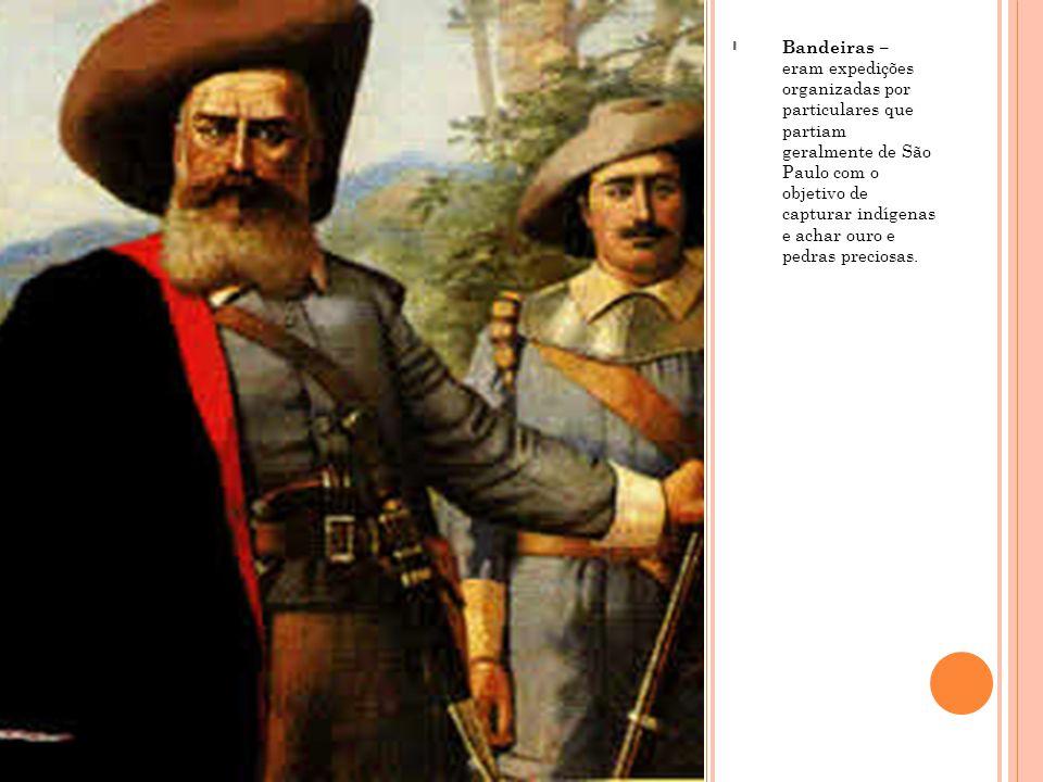 - Bandeiras – eram expedições organizadas por particulares que partiam geralmente de São Paulo com o objetivo de capturar indígenas e achar ouro e ped