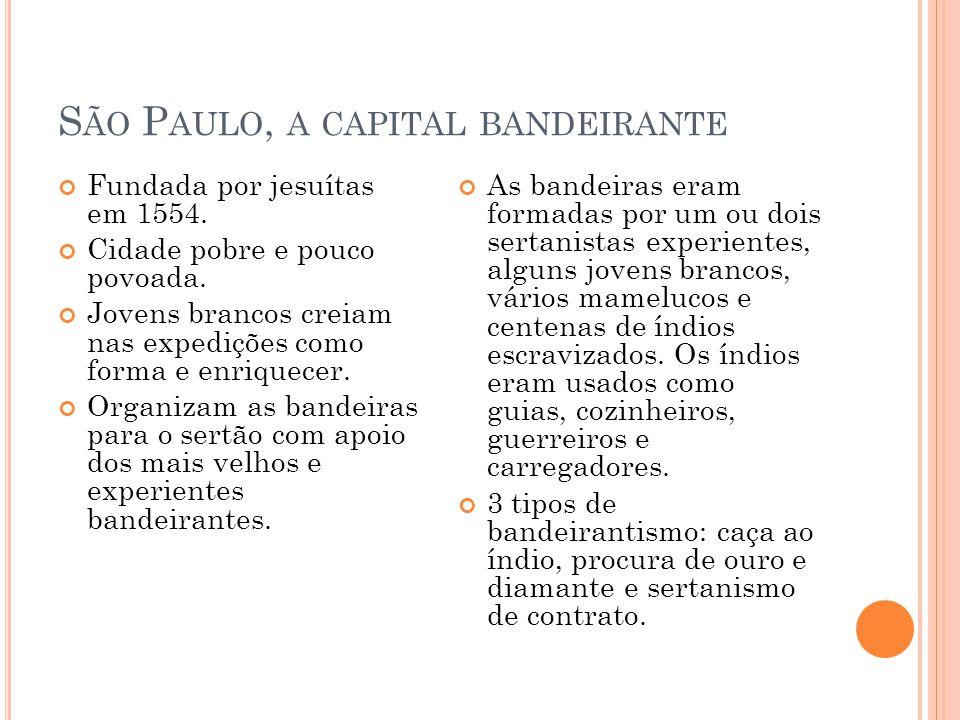B ANDEIRA DE CAÇA AO ÍNDIO Os paulistas buscavam aprisionar índios para usá- los como escravos nas fazendas do planalto paulista, principalmente no cultivo do trigo, que era vendido dentro do mercado interno e para Portugal.