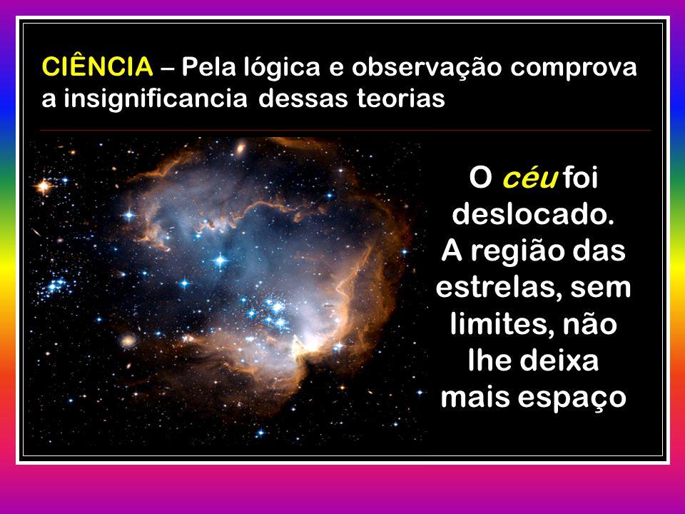 CIÊNCIA CIÊNCIA – Pela lógica e observação comprova a insignificancia dessas teorias O céu foi deslocado. A região das estrelas, sem limites, não lhe