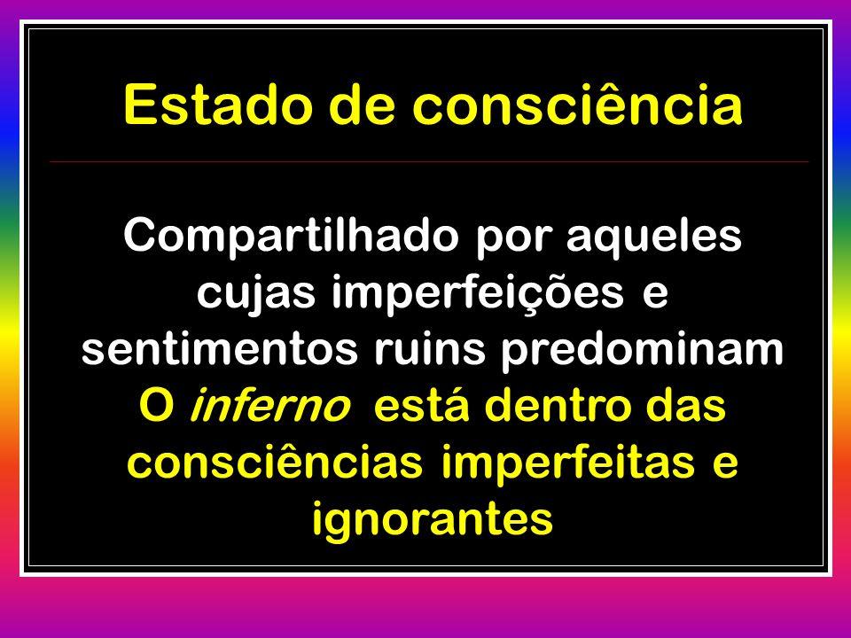 Estado de consciência Compartilhado por aqueles cujas imperfeições e sentimentos ruins predominam O inferno está dentro das consciências imperfeitas e