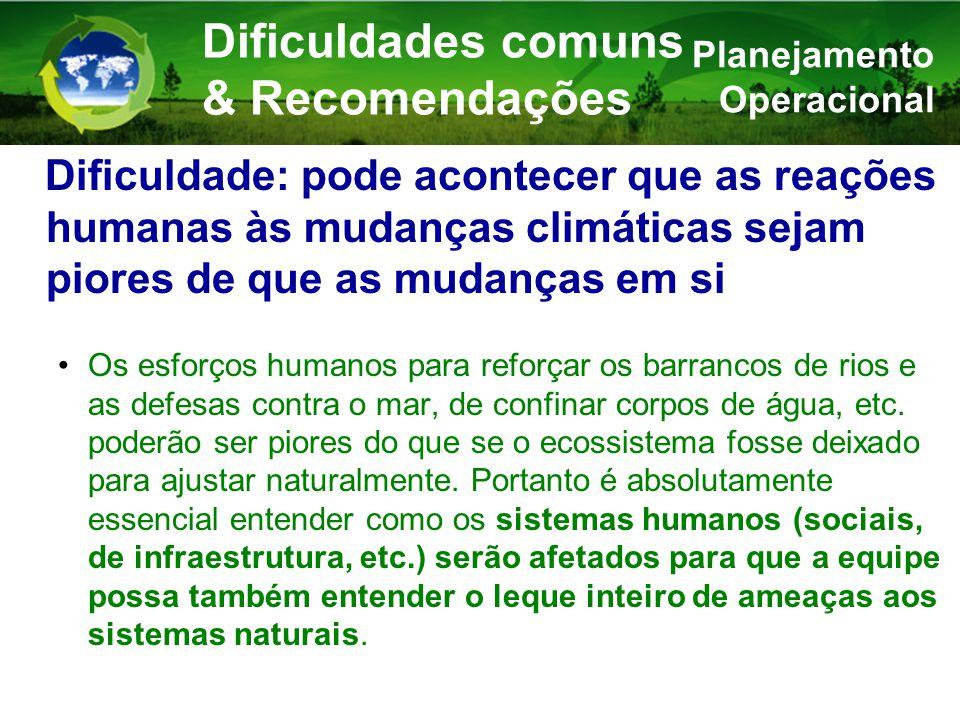 Dificuldade: pode acontecer que as reações humanas às mudanças climáticas sejam piores de que as mudanças em si Os esforços humanos para reforçar os barrancos de rios e as defesas contra o mar, de confinar corpos de água, etc.