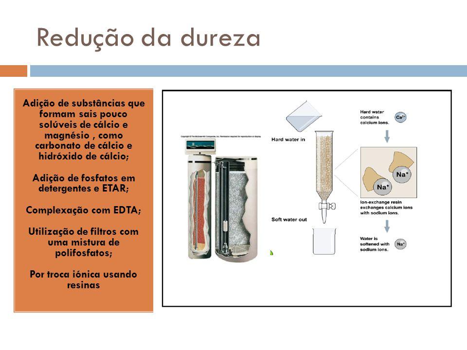 Redução da dureza Adição de substâncias que formam sais pouco solúveis de cálcio e magnésio, como carbonato de cálcio e hidróxido de cálcio; Adição de