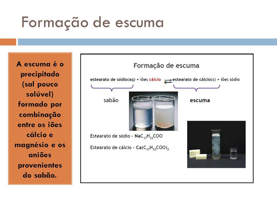 Formação de escuma A escuma é o precipitado (sal pouco solúvel) formado por combinação entre os iões cálcio e magnésio e os aniões provenientes do sab