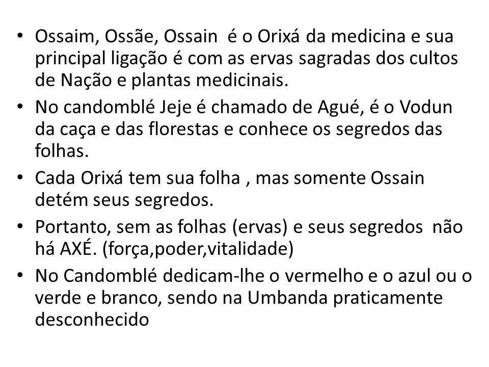 Ossaim, Ossãe, Ossain é o Orixá da medicina e sua principal ligação é com as ervas sagradas dos cultos de Nação e plantas medicinais. No candomblé Jej