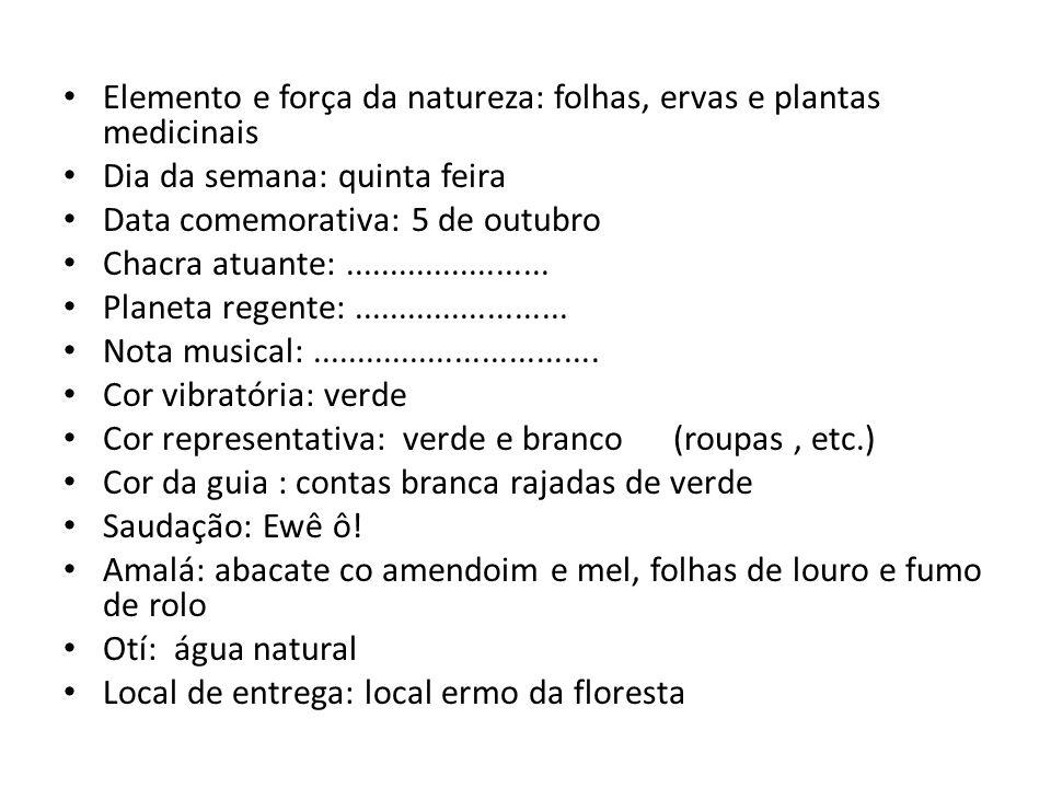 Elemento e força da natureza: folhas, ervas e plantas medicinais Dia da semana: quinta feira Data comemorativa: 5 de outubro Chacra atuante:..........