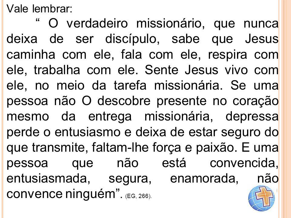 """Vale lembrar: """" O verdadeiro missionário, que nunca deixa de ser discípulo, sabe que Jesus caminha com ele, fala com ele, respira com ele, trabalha co"""