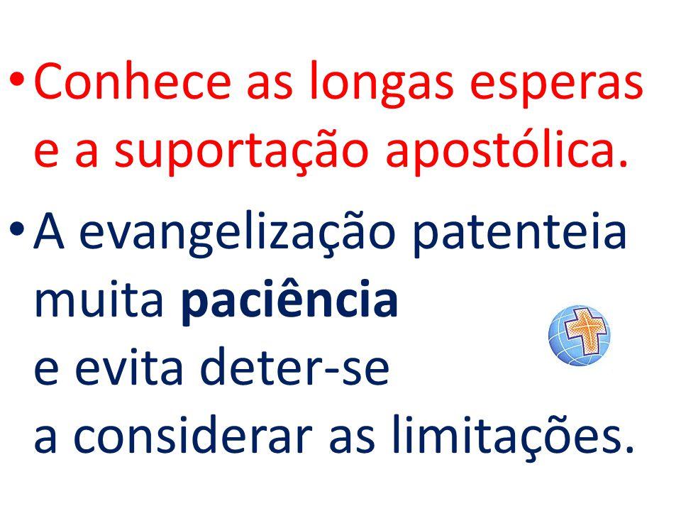 Conhece as longas esperas e a suportação apostólica. A evangelização patenteia muita paciência e evita deter-se a considerar as limitações.