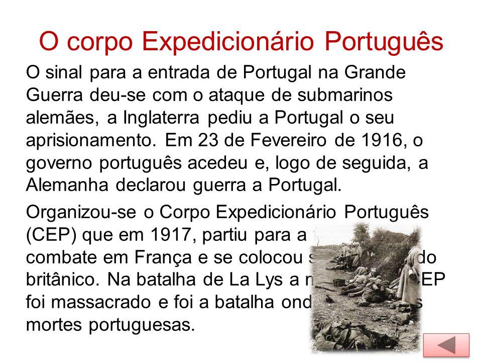 O corpo Expedicionário Português O sinal para a entrada de Portugal na Grande Guerra deu-se com o ataque de submarinos alemães, a Inglaterra pediu a P
