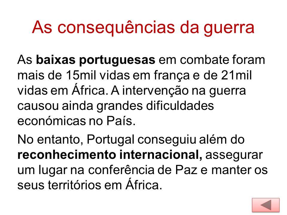 As consequências da guerra As baixas portuguesas em combate foram mais de 15mil vidas em frança e de 21mil vidas em África. A intervenção na guerra ca