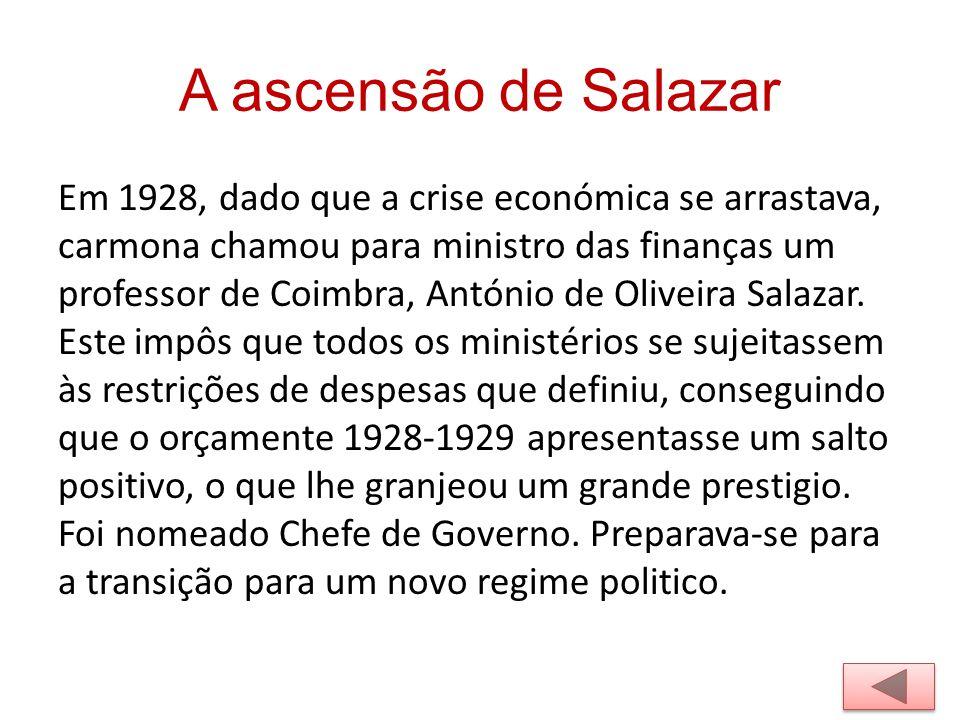 A ascensão de Salazar Em 1928, dado que a crise económica se arrastava, carmona chamou para ministro das finanças um professor de Coimbra, António de