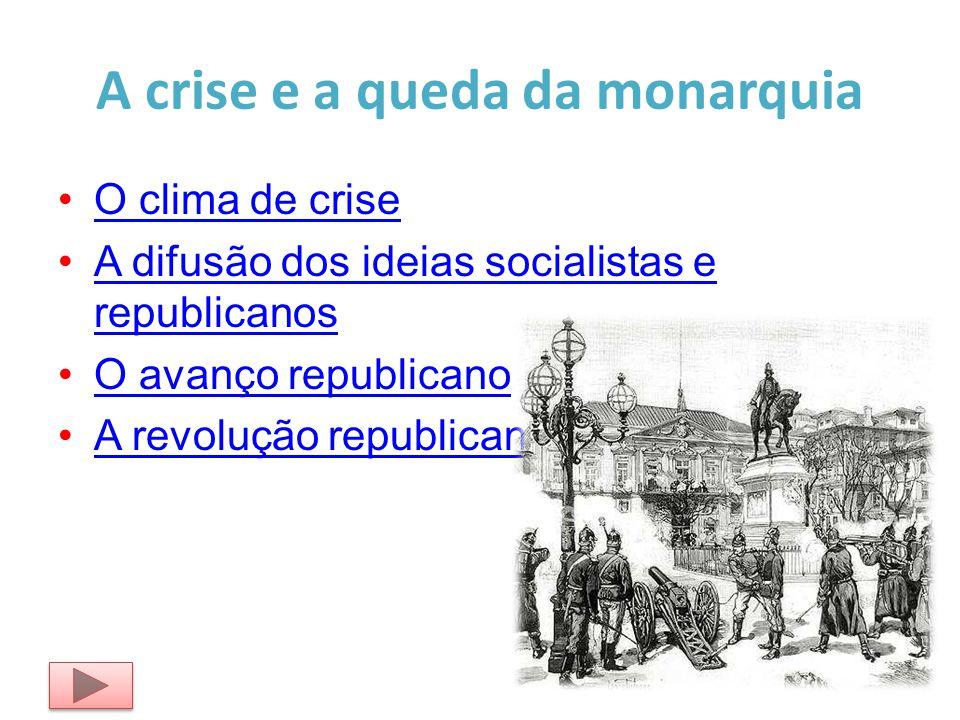 A crise e a queda da monarquia O clima de crise A difusão dos ideias socialistas e republicanosA difusão dos ideias socialistas e republicanos O avanç