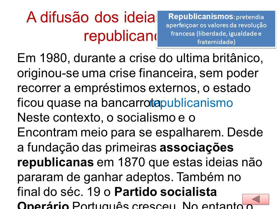 A difusão dos ideias socialistas e republicanos Republicanismos : pretendia aperfeiçoar os valores da revolução francesa (liberdade, igualdade e frate