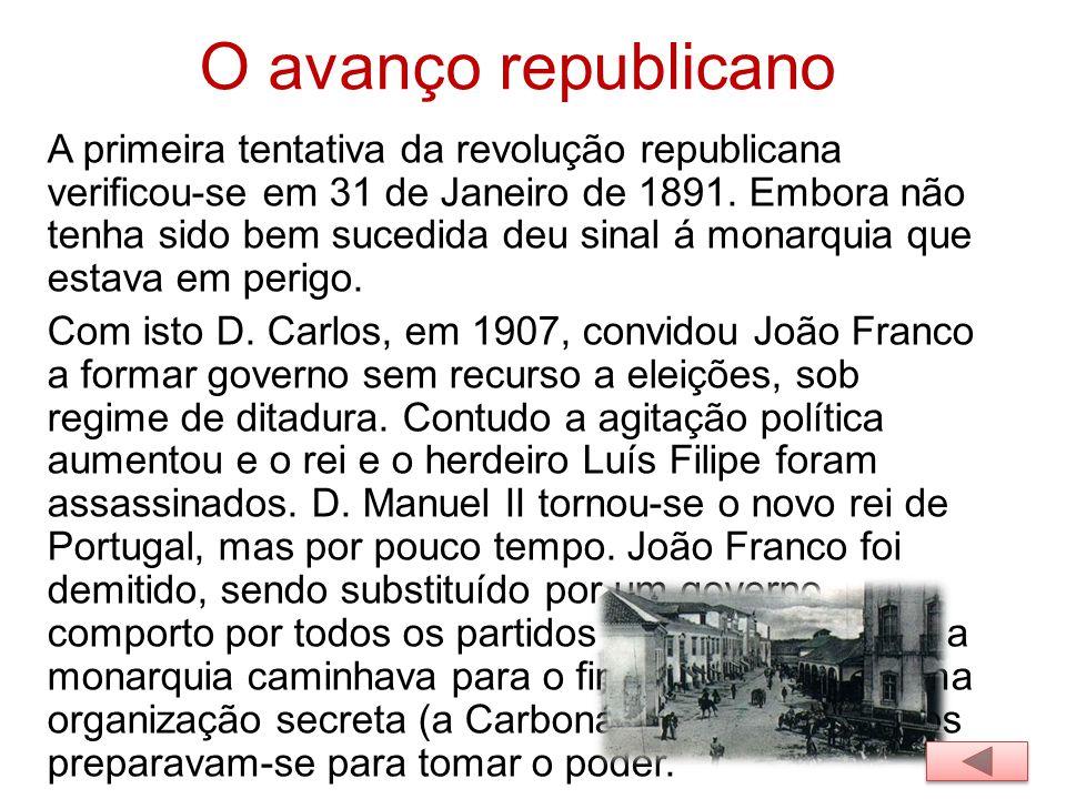 O avanço republicano A primeira tentativa da revolução republicana verificou-se em 31 de Janeiro de 1891. Embora não tenha sido bem sucedida deu sinal