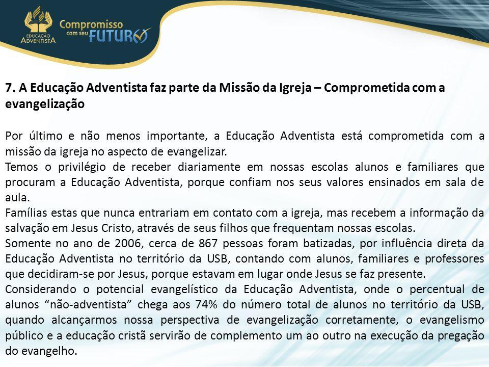 7. A Educação Adventista faz parte da Missão da Igreja – Comprometida com a evangelização Por último e não menos importante, a Educação Adventista est