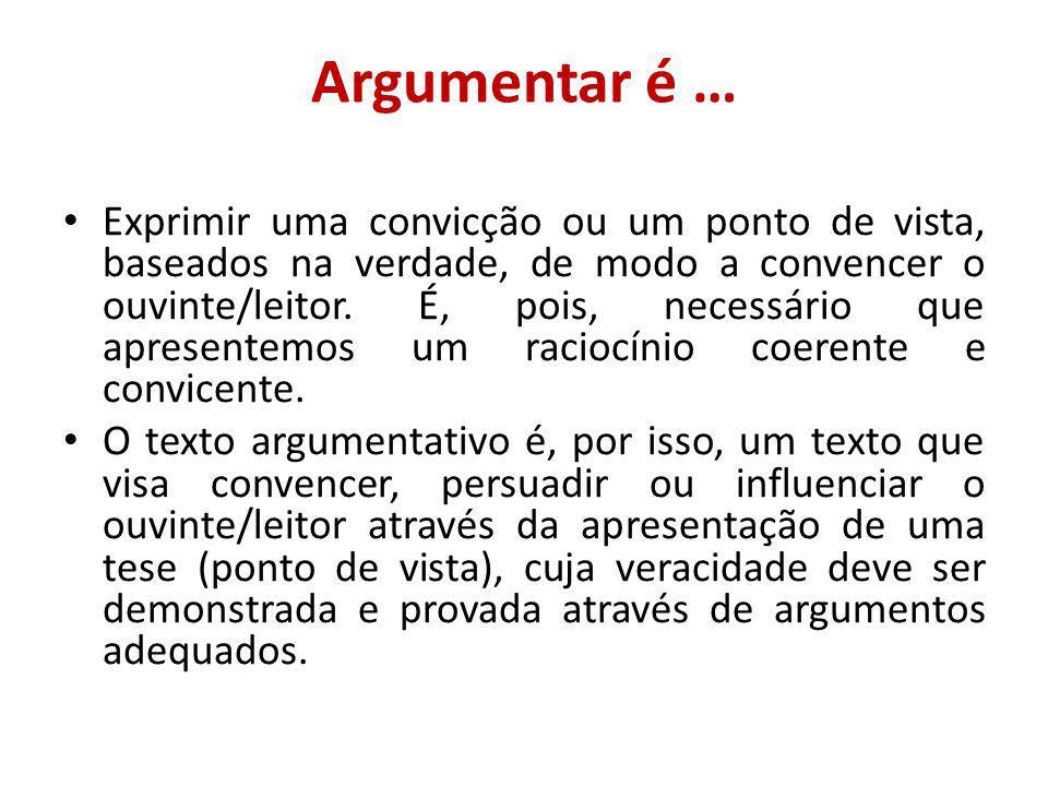 Argumentar é … Exprimir uma convicção ou um ponto de vista, baseados na verdade, de modo a convencer o ouvinte/leitor.