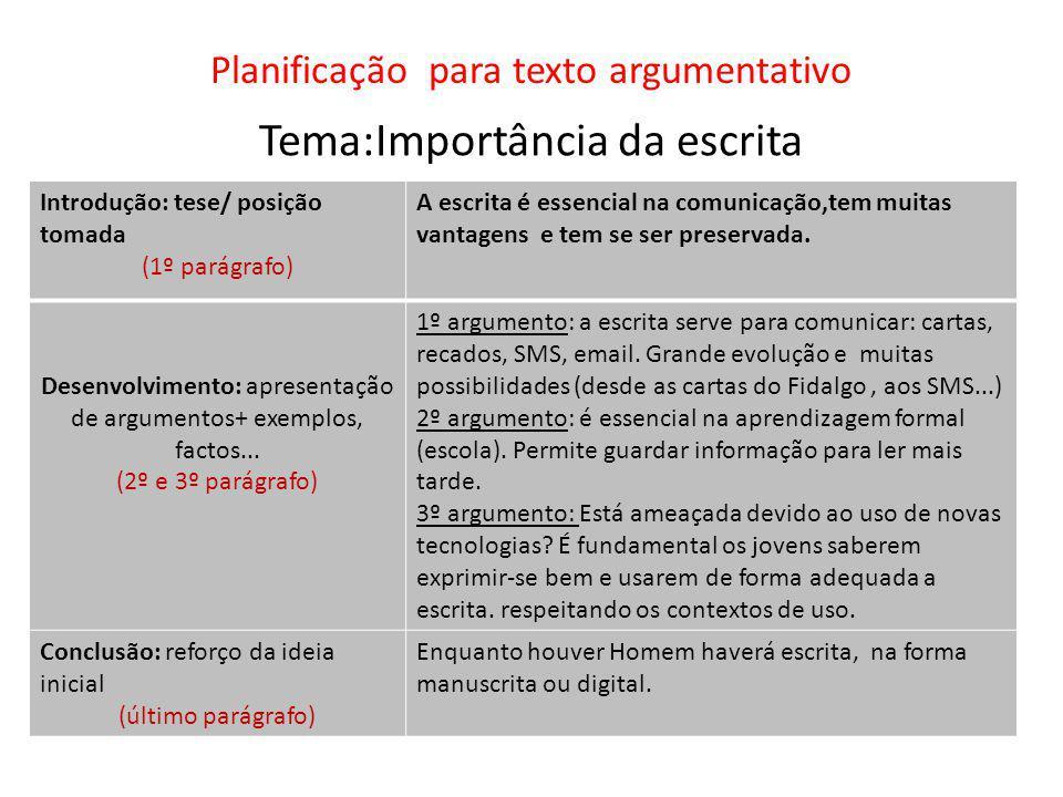 Planificação para texto argumentativo Tema:Importância da escrita Introdução: tese/ posição tomada (1º parágrafo) A escrita é essencial na comunicação,tem muitas vantagens e tem se ser preservada.