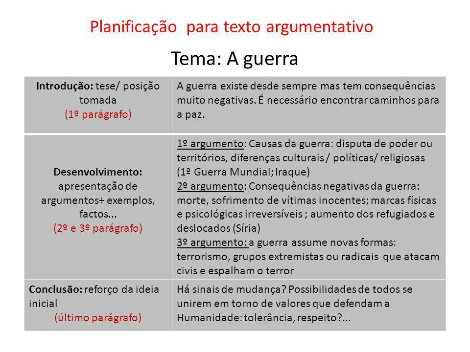 Planificação para texto argumentativo Tema: A guerra Introdução: tese/ posição tomada (1º parágrafo) A guerra existe desde sempre mas tem consequências muito negativas.