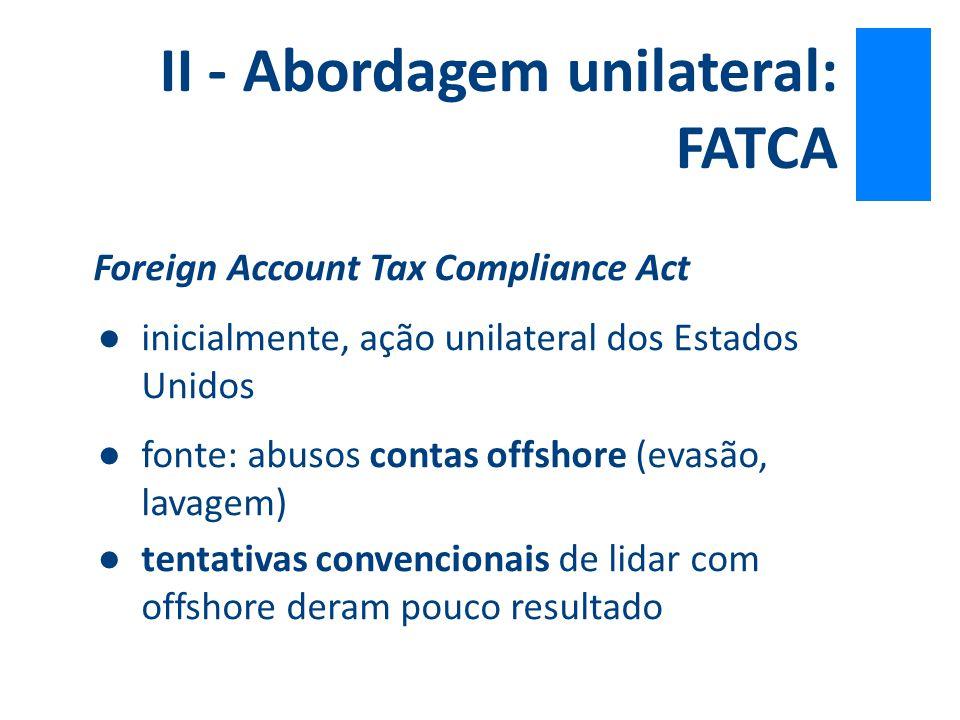 Foreign Account Tax Compliance Act ● inicialmente, ação unilateral dos Estados Unidos ●fonte: abusos contas offshore (evasão, lavagem) ●tentativas con
