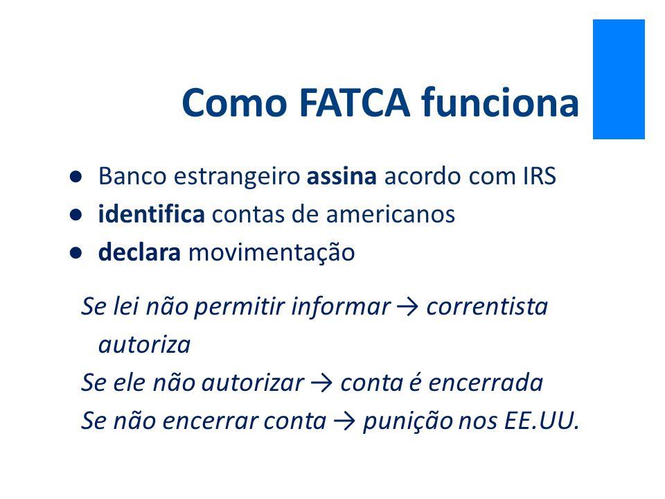●Banco estrangeiro assina acordo com IRS ●identifica contas de americanos ●declara movimentação Se lei não permitir informar → correntista autoriza Se
