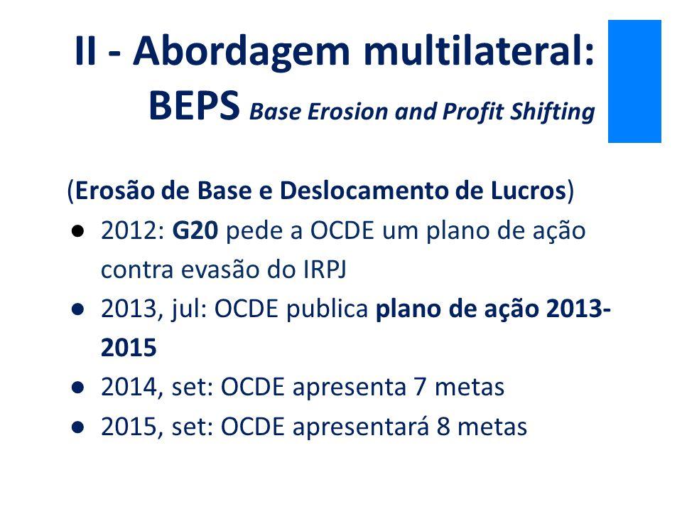 (Erosão de Base e Deslocamento de Lucros) ●2012: G20 pede a OCDE um plano de ação contra evasão do IRPJ ●2013, jul: OCDE publica plano de ação 2013- 2