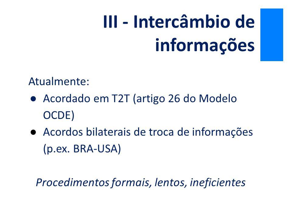 Atualmente: ●Acordado em T2T (artigo 26 do Modelo OCDE) ●Acordos bilaterais de troca de informações (p.ex. BRA-USA) Procedimentos formais, lentos, ine