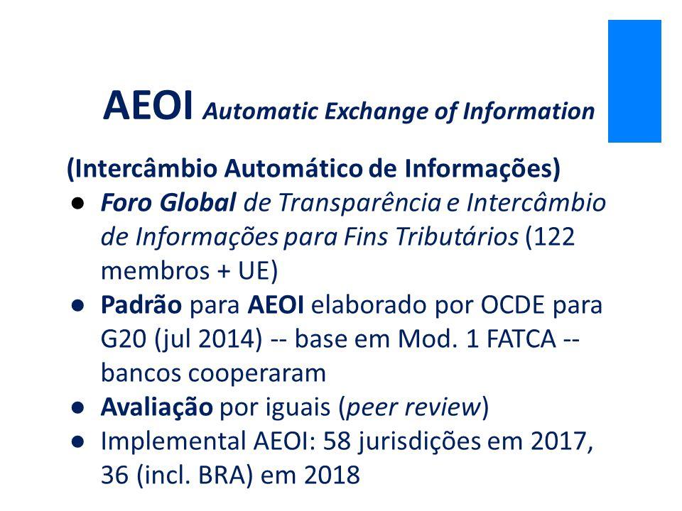 (Intercâmbio Automático de Informações) ●Foro Global de Transparência e Intercâmbio de Informações para Fins Tributários (122 membros + UE) ●Padrão pa