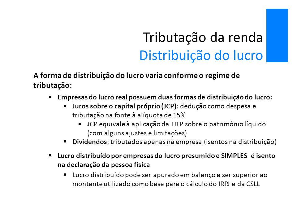 Tributação da renda Distribuição do lucro A forma de distribuição do lucro varia conforme o regime de tributação:  Empresas do lucro real possuem dua