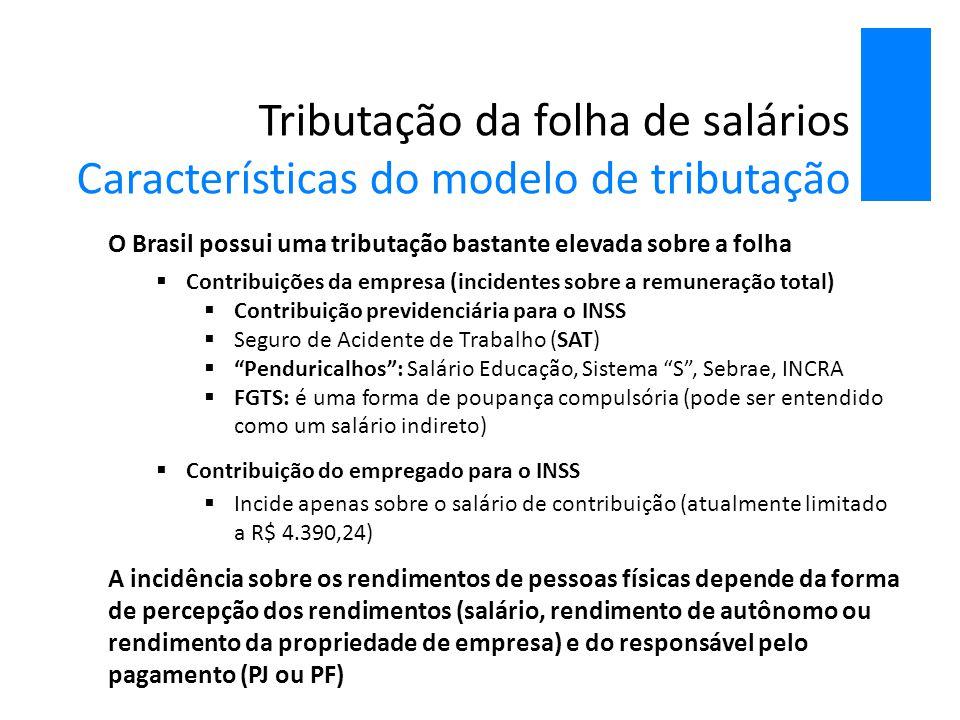 Tributação da folha de salários Características do modelo de tributação O Brasil possui uma tributação bastante elevada sobre a folha  Contribuições