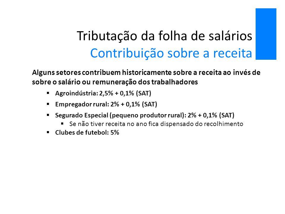 Tributação da folha de salários Contribuição sobre a receita Alguns setores contribuem historicamente sobre a receita ao invés de sobre o salário ou r