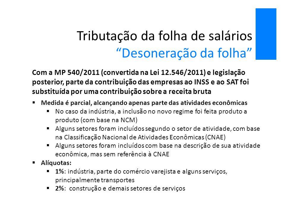 """Tributação da folha de salários """"Desoneração da folha"""" Com a MP 540/2011 (convertida na Lei 12.546/2011) e legislação posterior, parte da contribuição"""