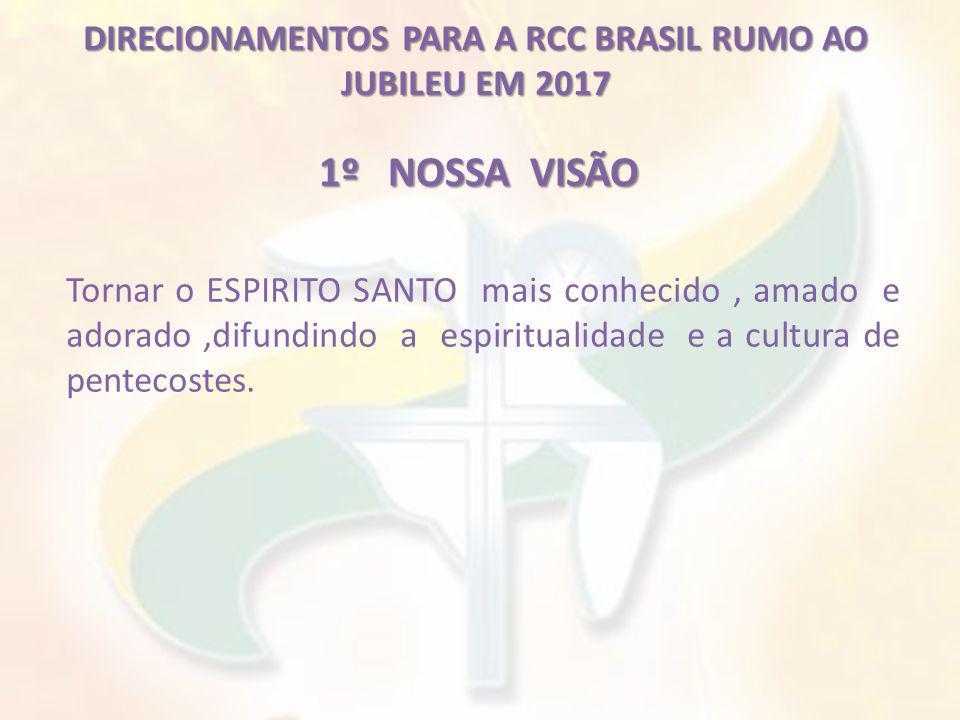 DIRECIONAMENTOS PARA A RCC BRASIL RUMO AO JUBILEU EM 2017 2º NOSSA MISSÃO Evangelizar com renovado ardor missionário, a partir da experiência do BATISMO no ESPIRITO SANTO.