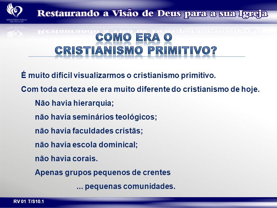 É muito difícil visualizarmos o cristianismo primitivo. Com toda certeza ele era muito diferente do cristianismo de hoje. Não havia hierarquia; não ha