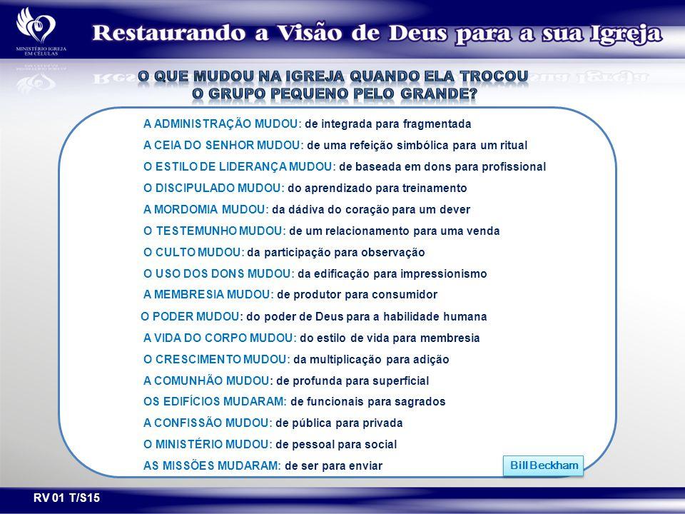RV 01 T/S15 A ADMINISTRAÇÃO MUDOU: de integrada para fragmentada A CEIA DO SENHOR MUDOU: de uma refeição simbólica para um ritual O ESTILO DE LIDERANÇ