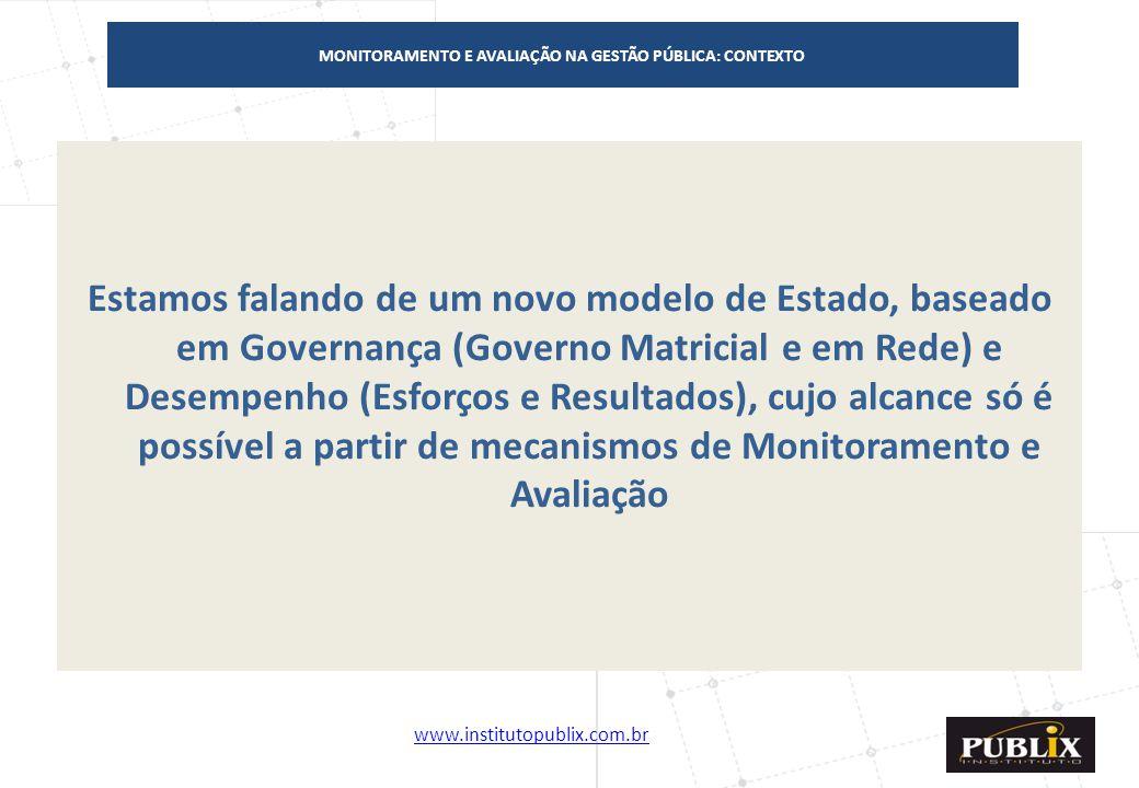 www.institutopublix.com.br11 Estamos falando de um novo modelo de Estado, baseado em Governança (Governo Matricial e em Rede) e Desempenho (Esforços e