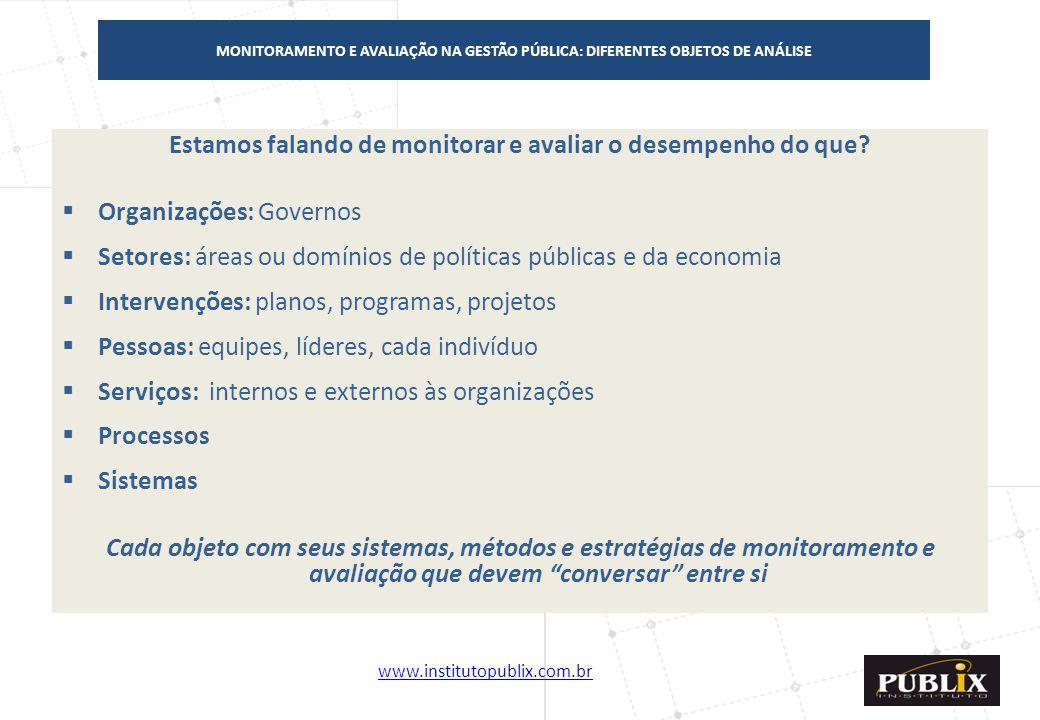 www.institutopublix.com.br12 Estamos falando de monitorar e avaliar o desempenho do que?  Organizações: Governos  Setores: áreas ou domínios de polí