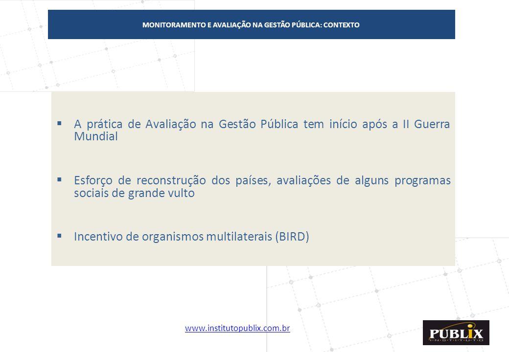 www.institutopublix.com.br2 MONITORAMENTO E AVALIAÇÃO NA GESTÃO PÚBLICA: CONTEXTO  A prática de Avaliação na Gestão Pública tem início após a II Guer