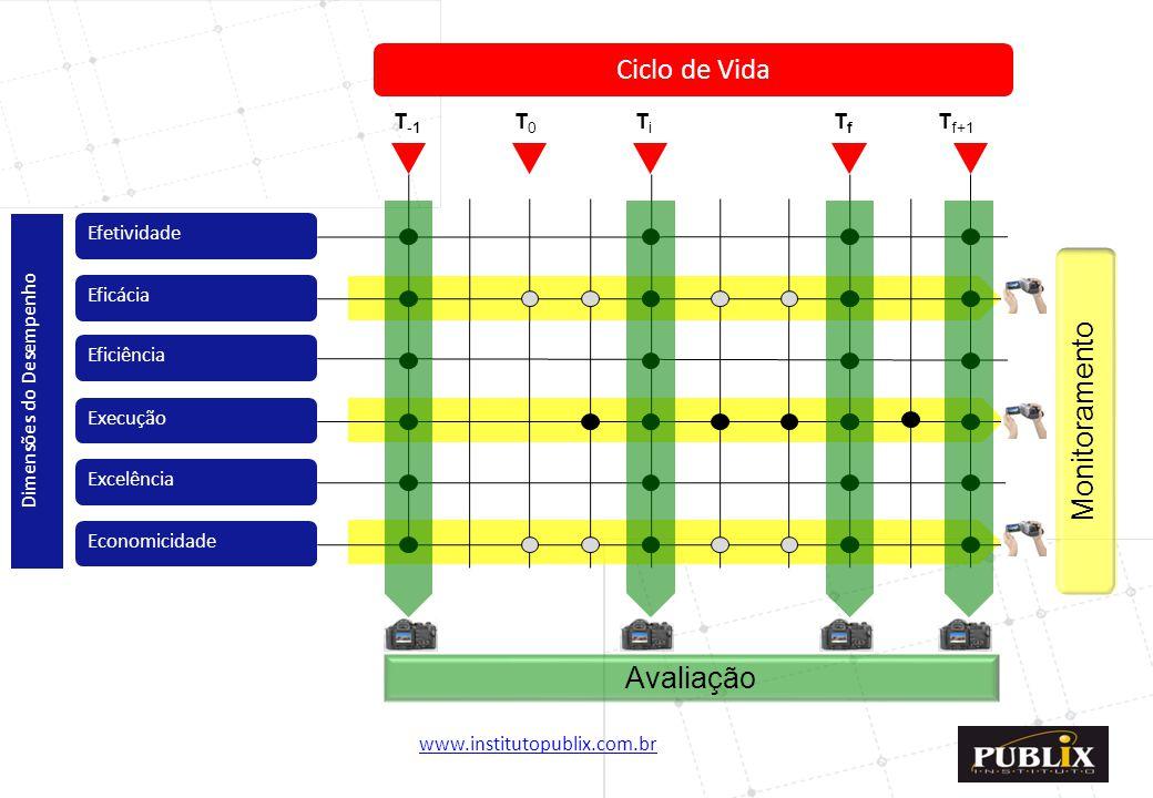www.institutopublix.com.br21 Economicidade Excelência Execução Eficiência Eficácia Efetividade Dimensões do Desempenho Ciclo de Vida T-1T-1 T0T0 TiTi