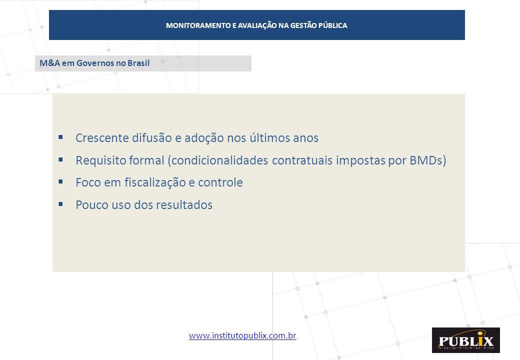 www.institutopublix.com.br22 MONITORAMENTO E AVALIAÇÃO NA GESTÃO PÚBLICA  Crescente difusão e adoção nos últimos anos  Requisito formal (condicional