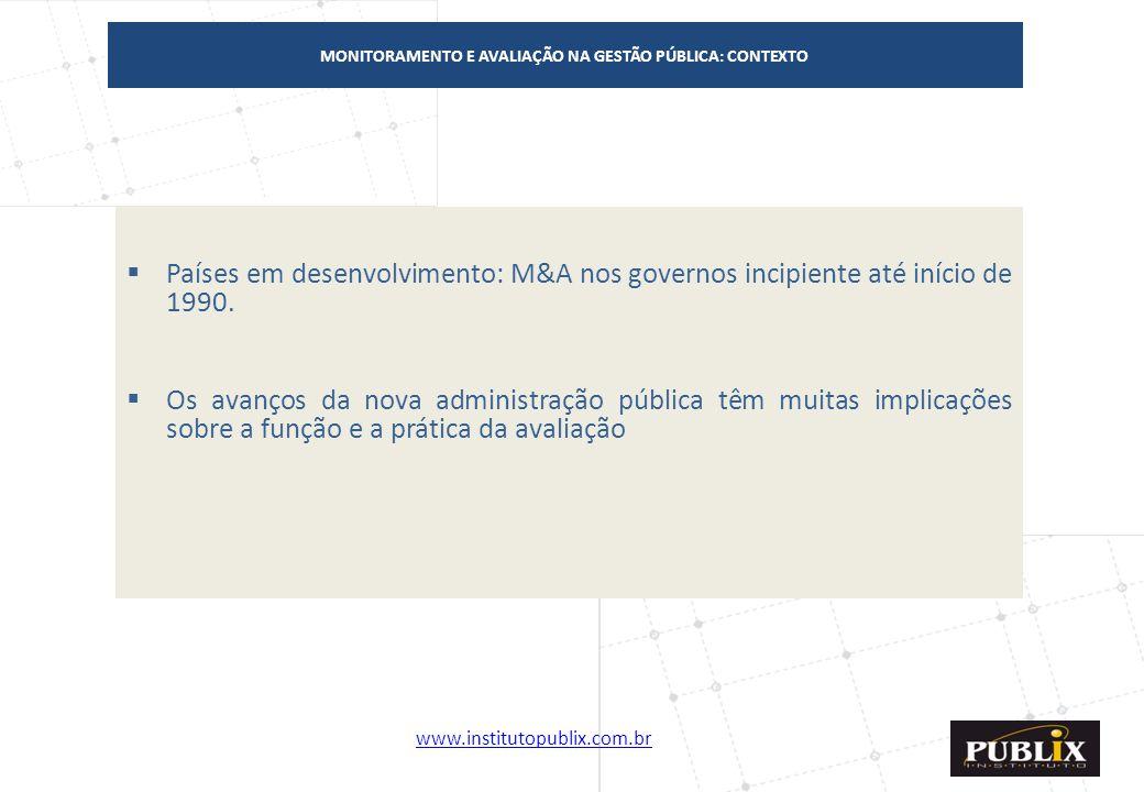 www.institutopublix.com.br3 MONITORAMENTO E AVALIAÇÃO NA GESTÃO PÚBLICA: CONTEXTO  Países em desenvolvimento: M&A nos governos incipiente até início