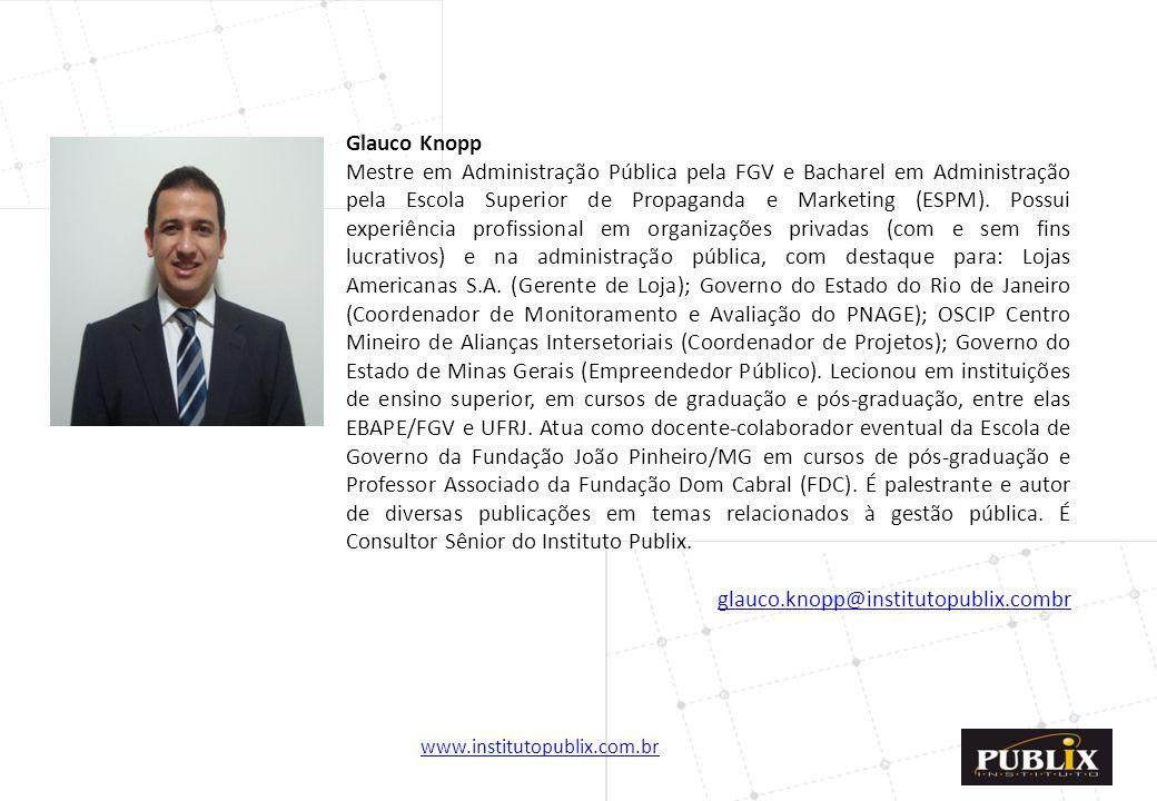 www.institutopublix.com.br30 Glauco Knopp Mestre em Administração Pública pela FGV e Bacharel em Administração pela Escola Superior de Propaganda e Ma