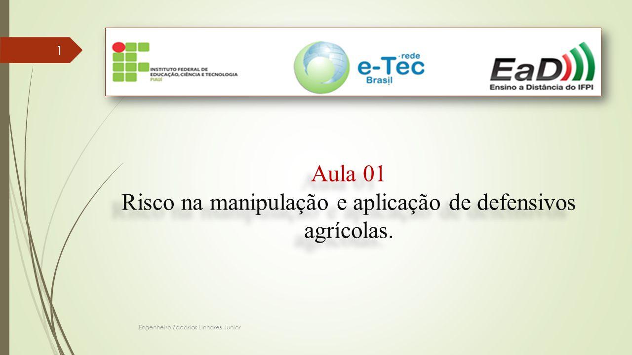 Engenheiro Zacarias Linhares Junior 1 Aula 01 Risco na manipulação e aplicação de defensivos agrícolas. Aula 01 Risco na manipulação e aplicação de de