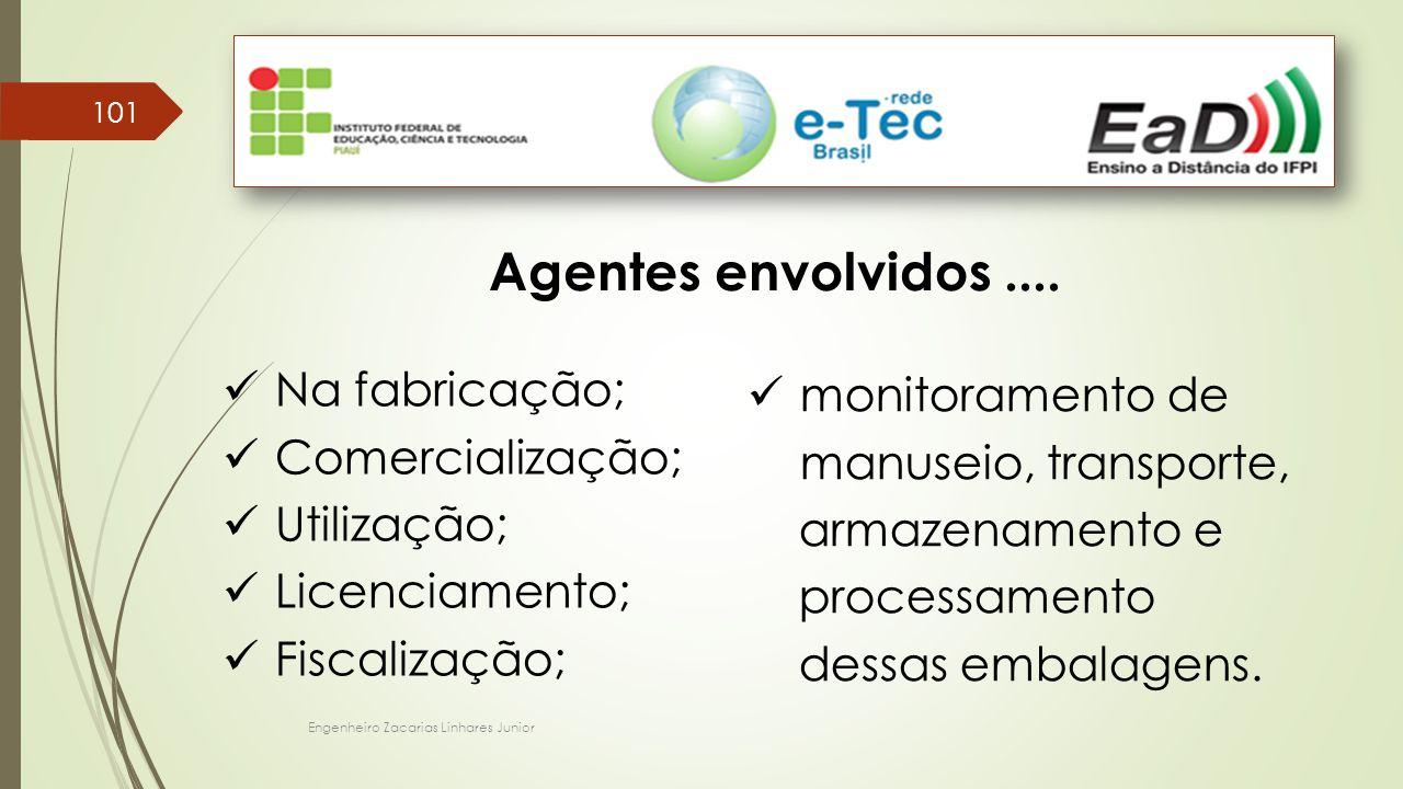 Engenheiro Zacarias Linhares Junior 101 Agentes envolvidos.... Na fabricação; Comercialização; Utilização; Licenciamento; Fiscalização; monitoramento