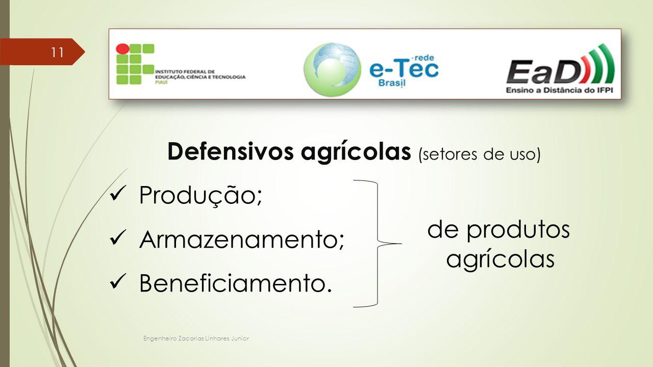 Engenheiro Zacarias Linhares Junior 11 Defensivos agrícolas (setores de uso) Produção; Armazenamento; Beneficiamento. de produtos agrícolas